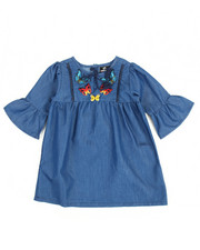 Girls - Chambray Butterfly Embroidered Dress (2T-4T)