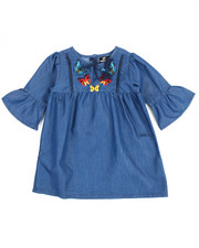 Dresses - Chambray Butterfly Embroidered Dress (4-6X)