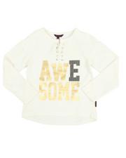 Girls - Sparkle Lace Up Hacci L/S Shirt (7-16)