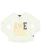 Tops - Sparkle Lace Up Hacci L/S Shirt (4-6X)