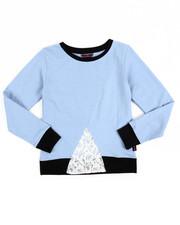 Girls - Lace Inserted Denim Knit Shirt (7-16)