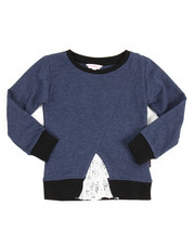 Tops - Lace Inserted Denim Knit Shirt (4-6X)