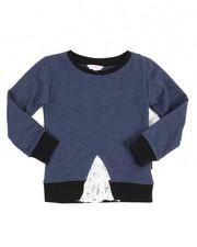 Girls - Lace Inserted Denim Knit Shirt (4-6X)