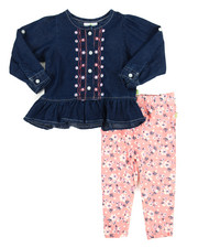 Girls - Chambray/Denim Legging Long Set (Infant)