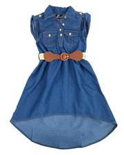 Dresses - Belted Chambray Sleeveless Dress (4-6X)