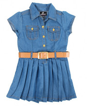 Girls - Pleated Chambray Dress (2T-4T)