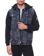 Men - Denim Jacket With Fleece Hooded