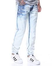 Jeans - Blue Hombre Crunch Bottom Paint Splatter Jeans