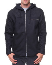 Hoodies - Coated Fleece Quited Full Zip Hoody
