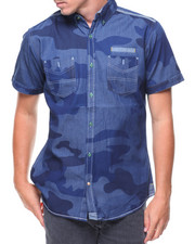Short-Sleeve - S/S Denim Camo Woven Shirt