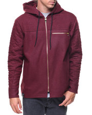 Hoodies - Coated Fleece Quilted Full Zip Hoody