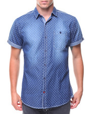 Short-Sleeve - S/S Denim Polka Dot Woven Shirt