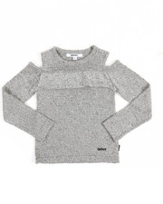 Girls - Ruffle Cold Shoulder Sweater (4-6X)