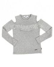 Girls - Ruffle Cold Shoulder Sweater (7-16)
