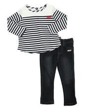 Girls - Stripe & Lace 2 Piece Set (2T-4T)