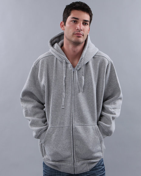 Basic Essentials - Men Grey Full Zip Hoodie