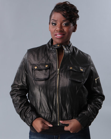k & c pocket leather bomber, plus size