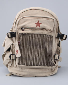 DRJ Army/Navy Shop - Rothco Authentic Deluxe Khaki Vintage Mesh Front Star Backpack