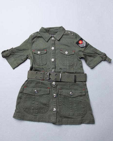 Mecca Girls Girls Green Military Dress (7-16)