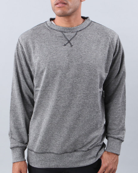Basic Essentials - Men Black,Black Heather Crewneck Sweatshirt