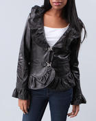 DRJ Leather Shoppe - Buckle Front Ruffle Leather Jacket