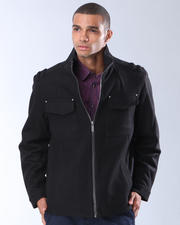 DJP OUTLET - Zip Front Wool Coat with Chest Pockets
