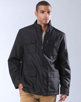 DJP OUTLET - Zip Front Nylon Jacket with Stand Collar and Patch Pockets