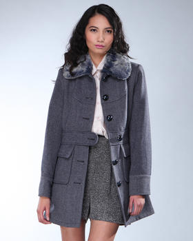 DJP OUTLET - Wool Fur Collar Walker Coat