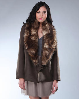 DJP OUTLET - Ethan Faux Coyote Trim Jacket