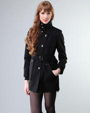 DJP OUTLET - Assymetrical Button Front Wool Coat