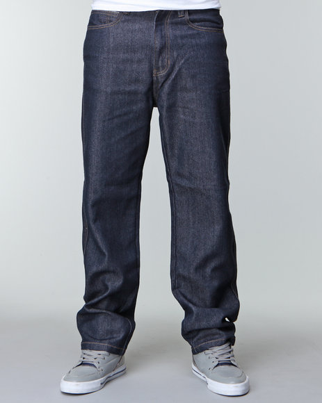 Mo7 Men Dark Indigo Reverse Raw Denim Jeans
