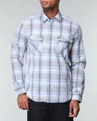Button-downs - L/S Plaid Double Chest Pockets Woven