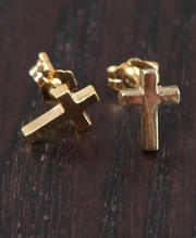 Accessories - Cross Stud Earring - 18kt Gold over sterling silver