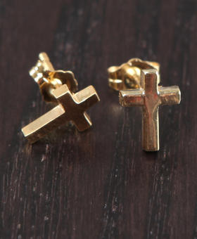 DJP OUTLET - Cross Stud Earring - 18kt Gold over sterling silver