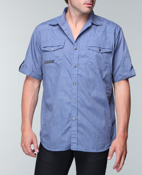 Mo7 - Men Navy Garment Washed S/S Shirt