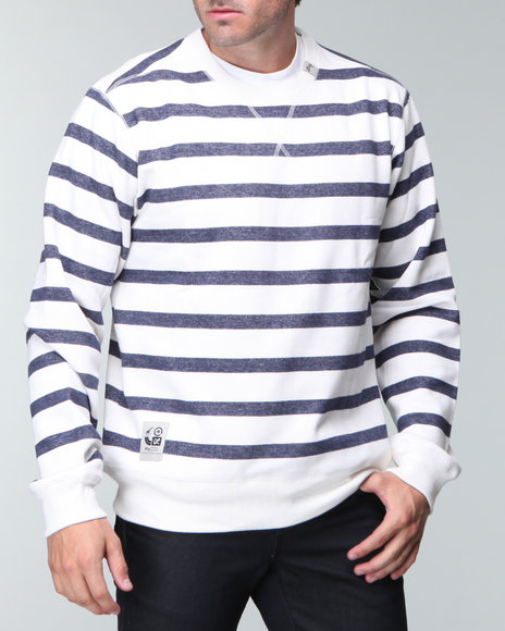 LRG Men White Core Collection Striped Crewneck Sweatshirt