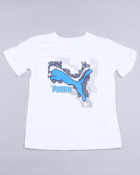 Puma Boys White Pixel Cat Tee (4-7)
