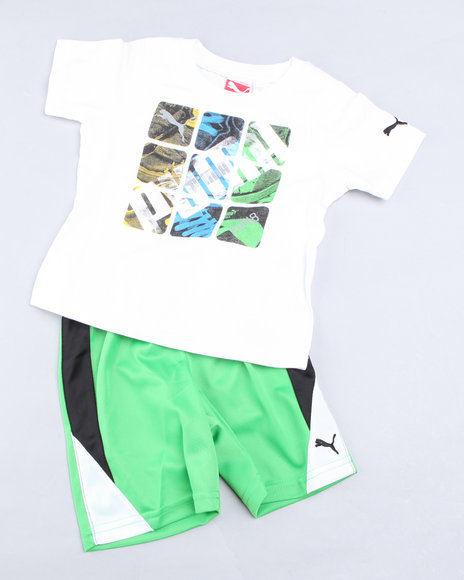 Puma Boys Green Block Short Set (2T-4T)