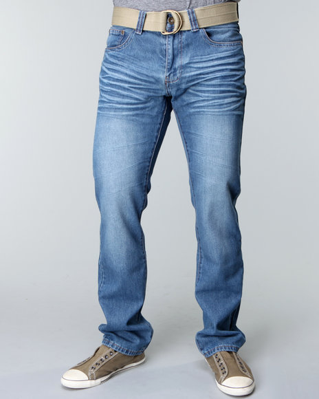 Basic Essentials Men Medium Wash Jaque Denim Jeans With Belt