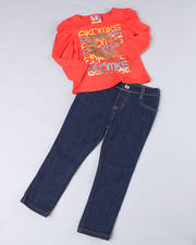 2T-4T Toddlers - 2pc Puff Sleeve Top with Denim (TOD)