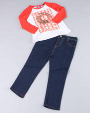 2T-4T Toddlers - 2pc Contrast Raglan and Skinny Denim (TOD)