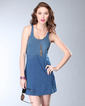 DJP OUTLET - Diesel Treated Indigo Cotton Jersey Shirtdress