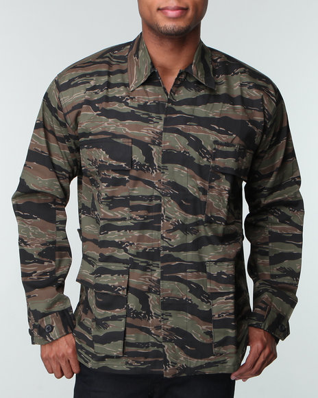Men Camo Rothco Tiger Stripe Camouflage Bdu Shirt