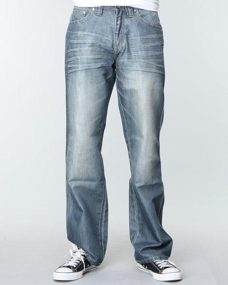 Pelle Pelle Men Raw Wash Script Pu Pocket Denim Jeans