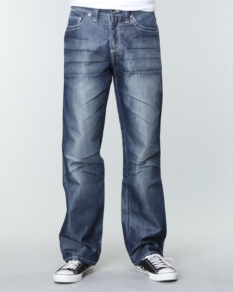 Pelle Pelle Men Script Pu Pocket Denim Jeans