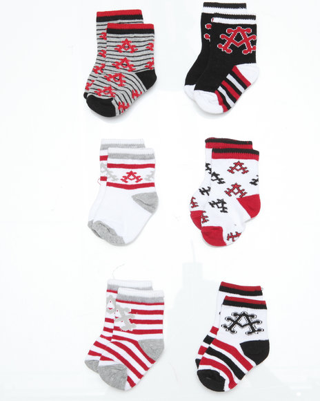 - 6 pack Red, Black Stadium Socks (INF)