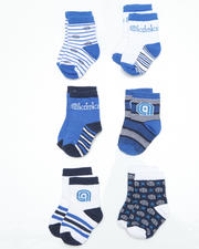 Infant - 6 pack Blue Stripes Socks (INF)