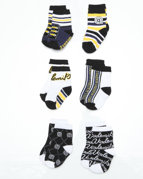 - 6 pack Navy Yellow Mix Socks (INF)