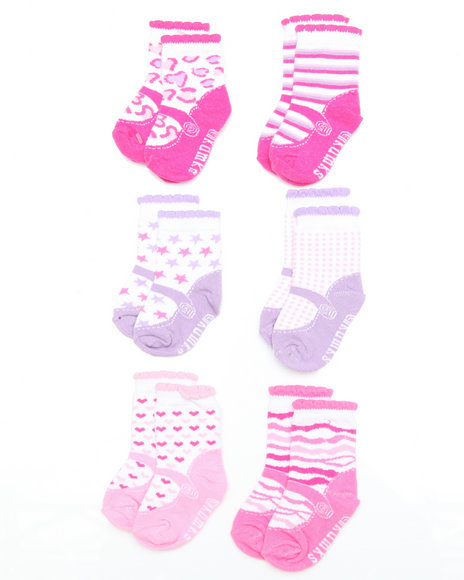 - 6 pack Mary Jane Print Purple Socks (INF)