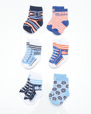 Infant - 6 pack Red, Blue Athletics Socks (INF)